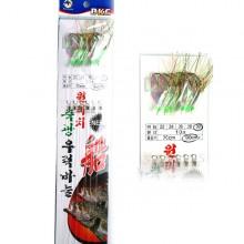 (백경)BK-427 원터치 축광 우럭바늘(레인보우어피)