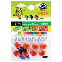 (해동)HA-721 최고급 천연고무 컬러순정봉돌